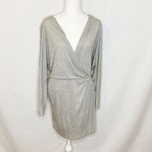 Haute Hippie Gray Ruched Long Sleeve Dress 504
